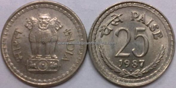25 Paise of 1987 - Mumbai Mint - Diamond