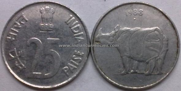 25 Paise of 1988 - Mumbai Mint - Diamond - SS