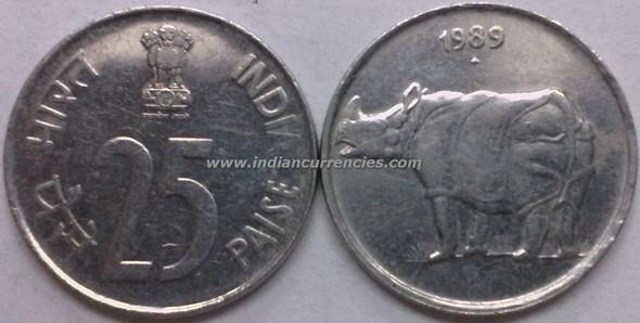 25 Paise of 1989 - Mumbai Mint - Diamond - SS