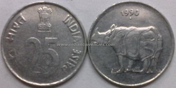 25 Paise of 1990 - Mumbai Mint - Diamond - Stainless Steel