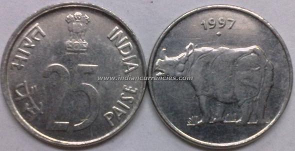 25 Paise of 1997 - Mumbai Mint - Diamond