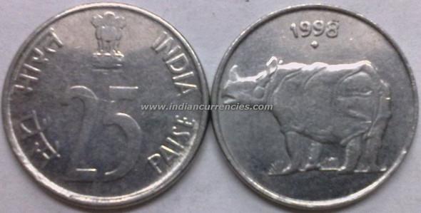 25 Paise of 1998 - Mumbai Mint - Diamond