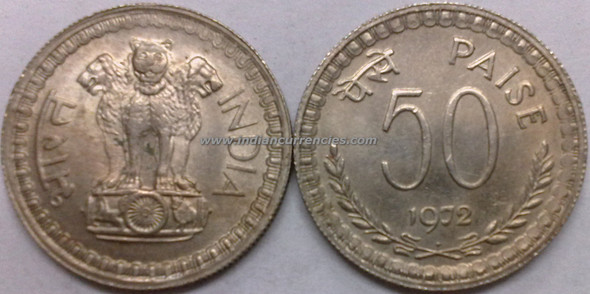 50 Paise of 1972 - Mumbai Mint - Diamond