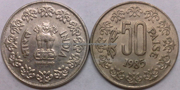 50 Paise of 1985 - Mumbai Mint - Diamond
