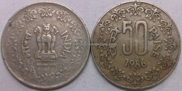50 Paise of 1986 - Mumbai Mint - Diamond