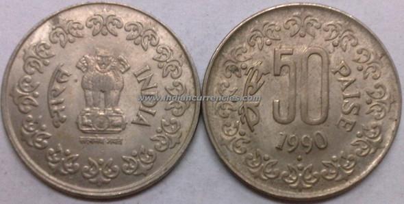 50 Paise of 1990 - Mumbai Mint - Diamond - Copper-Nickel