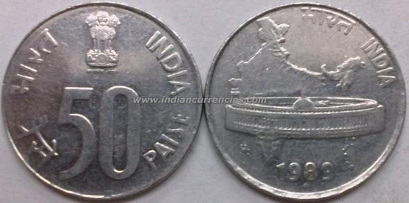 50 Paise of 1989 - Mumbai Mint - Diamond - SS