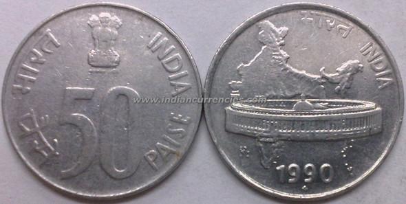 50 Paise of 1990 - Mumbai Mint - Diamond - SS