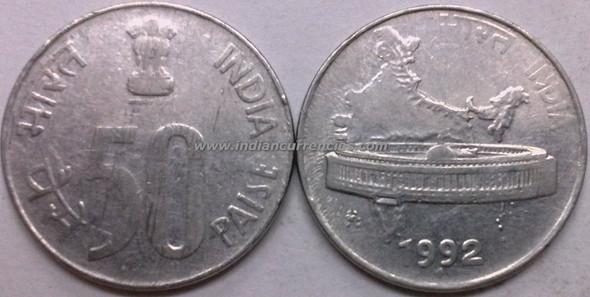 50 Paise of 1992 - Mumbai Mint - Diamond - SS