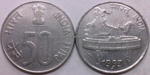 50 Paise of 1993 - Mumbai Mint - Diamond - SS