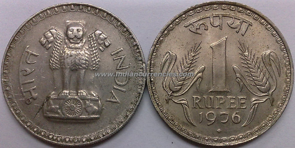 1 Rupee of 1976 - Mumbai Mint - Diamond