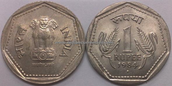 1 Rupee of 1984 - Mumbai Mint - Diamond