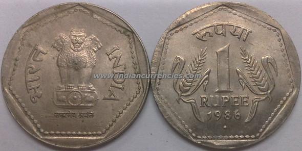 1 Rupee of 1986 - Mumbai Mint - Diamond