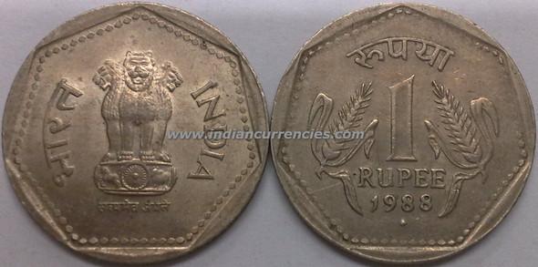 1 Rupee of 1988 - Mumbai Mint - Diamond