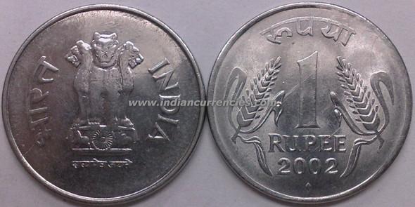 1 Rupee of 2002 - Mumbai Mint - Diamond