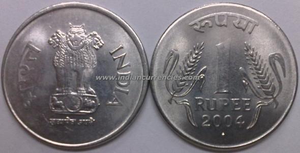 1 Rupee of 2004 - Mumbai Mint - Diamond - Stainless-Steel