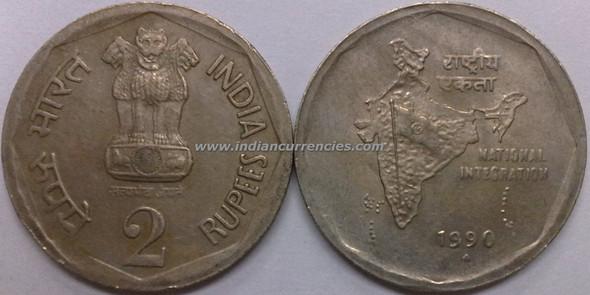 2 Rupees of 1990 - Mumbai Mint - Diamond
