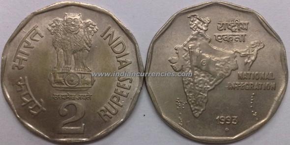 2 Rupees of 1993 - Mumbai Mint - Diamond