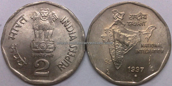 2 Rupees of 1997 - Mumbai Mint - Diamond
