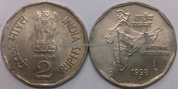 2 Rupees of 1998 - Mumbai Mint - Diamond