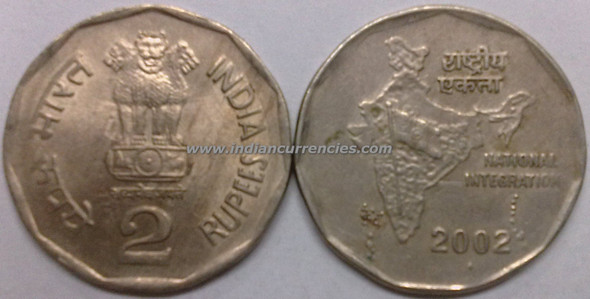 2 Rupees of 2002 - Mumbai Mint - Diamond