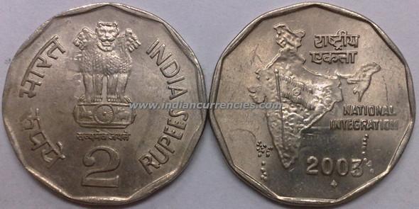 2 Rupees of 2003 - Mumbai Mint - Diamond