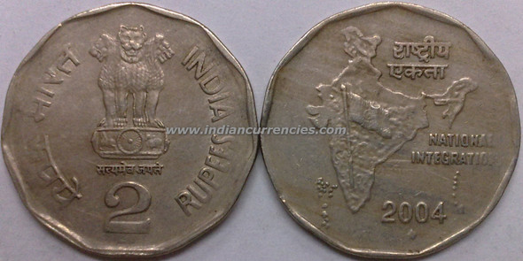2 Rupees of 2004 - Mumbai Mint - Diamond