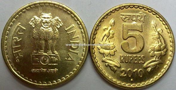 5 Rupees of 2010 - Mumbai Mint - Diamond