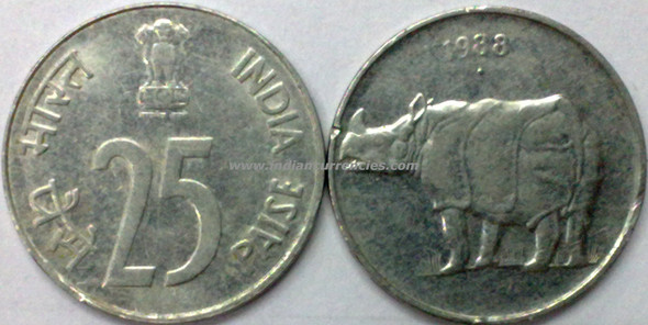 25 Paise of 1988 - Noida Mint - Round Dot - SS