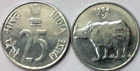 25 Paise of 1994 - Noida Mint - Round Dot