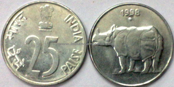 25 Paise of 1998 - Noida Mint - Round Dot