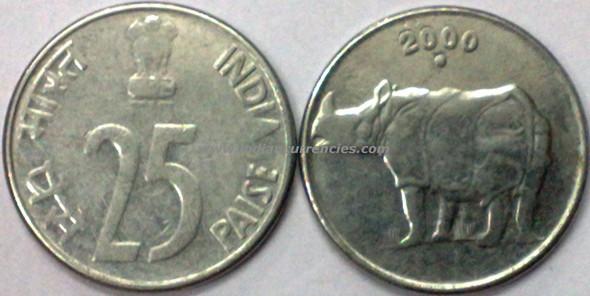 25 Paise of 2000 - Noida Mint - Round Dot