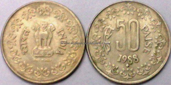 50 Paise of 1988 - Noida Mint - Round Dot - Copper-Nickel
