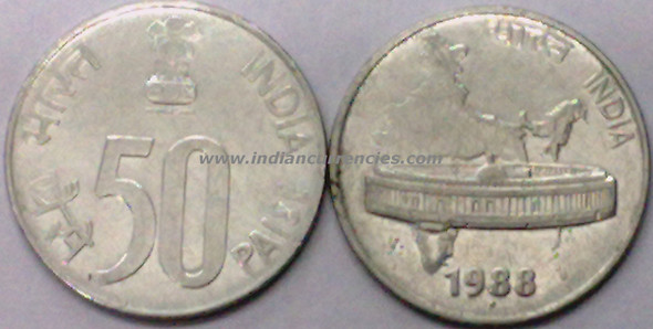 50 Paise of 1988 - Noida Mint - Round Dot - SS