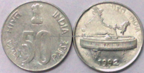 50 Paise of 1992 - Noida Mint - Round Dot - SS