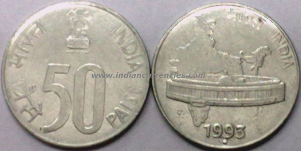 50 Paise of 1993 - Noida Mint - Round Dot - SS