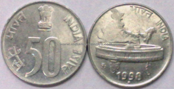 50 Paise of 1998 - Noida Mint - Round Dot