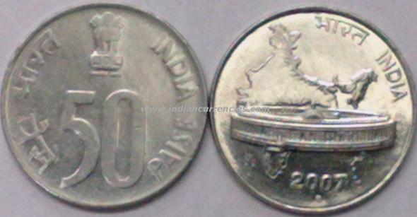 50 Paise of 2007 - Noida Mint - Round Dot