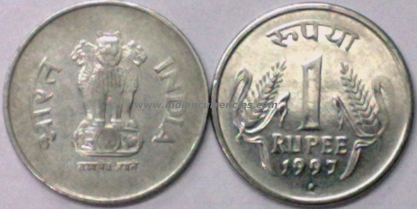 1 Rupee of 1997 - Noida Mint - Round Dot