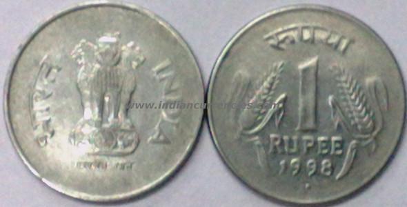 1 Rupee of 1998 - Noida Mint - Round Dot