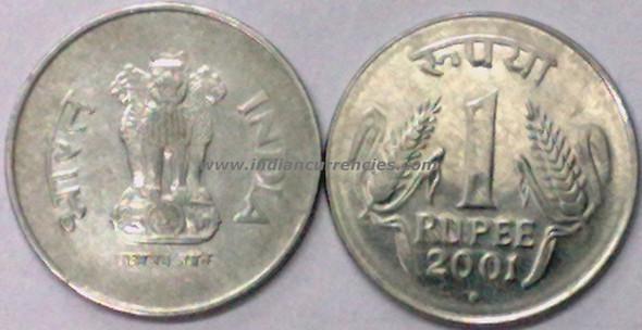 1 Rupee of 2001 - Noida Mint - Round Dot