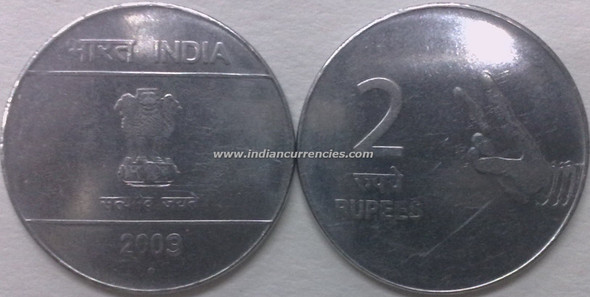 2 Rupees of 2009 - Noida Mint - Round Dot