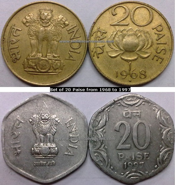 Regular Republic Coins Set of 20 Paise from 1968 to 1997
