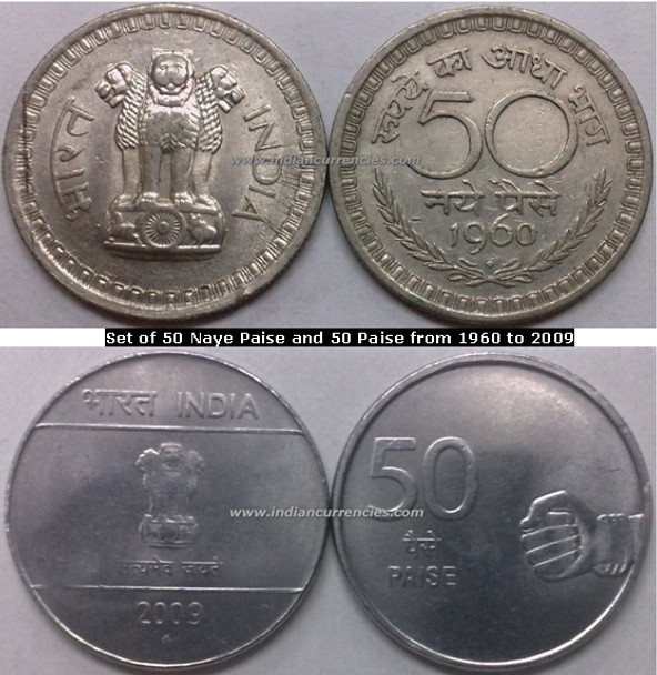 Regular Republic Coins Set of 50 Naye Paise and 50 Paise from 1960 to 2009