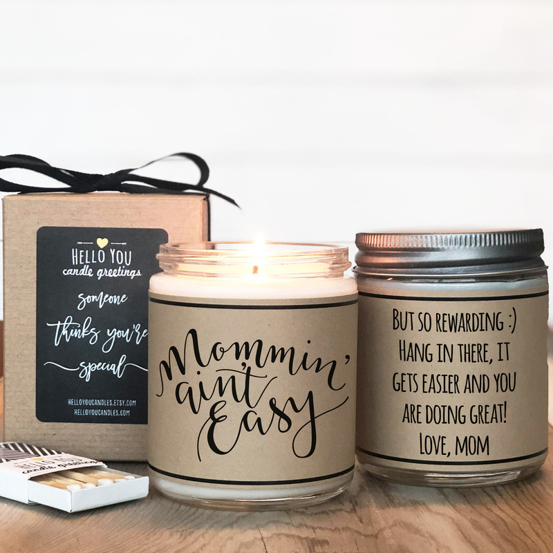 Mommin' Ain't Easy Soy Candle - Personalized New Mom Gift