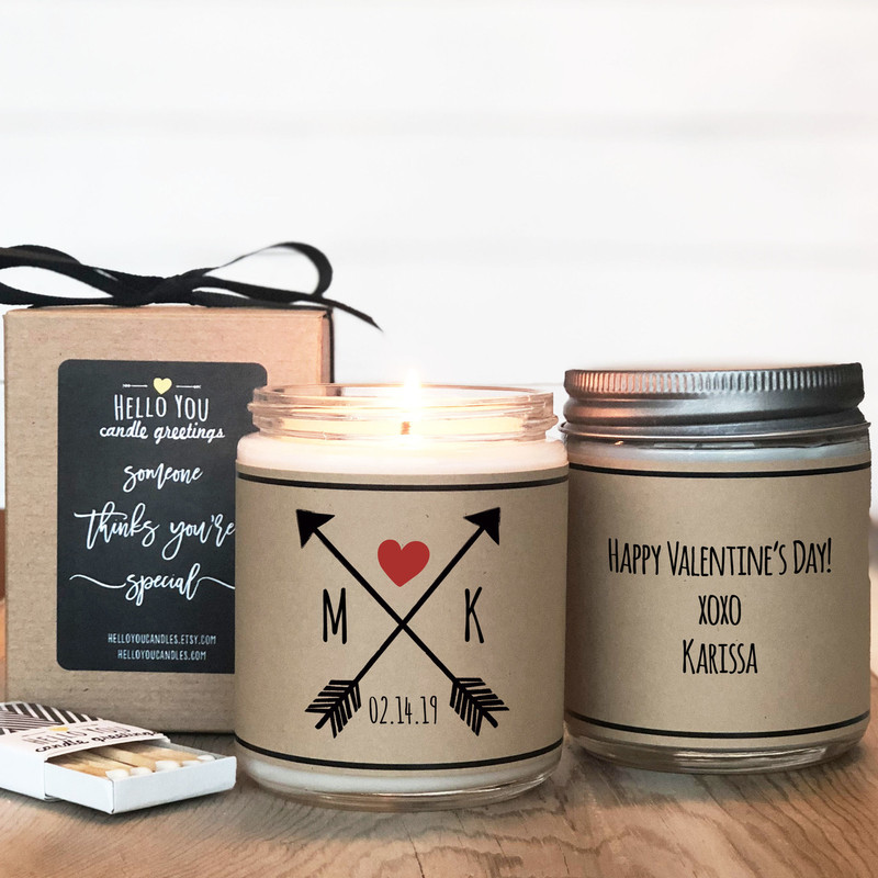 Arrows with initials candle