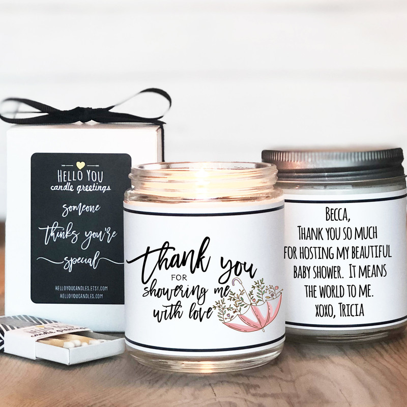Bridal Shower Hostess Gift Candle, Baby Shower Hostess Thank You Gift, Thank you for showering me with love
