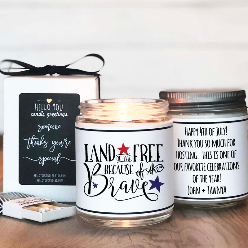 Land of the free because of the brave Personalized candle gift