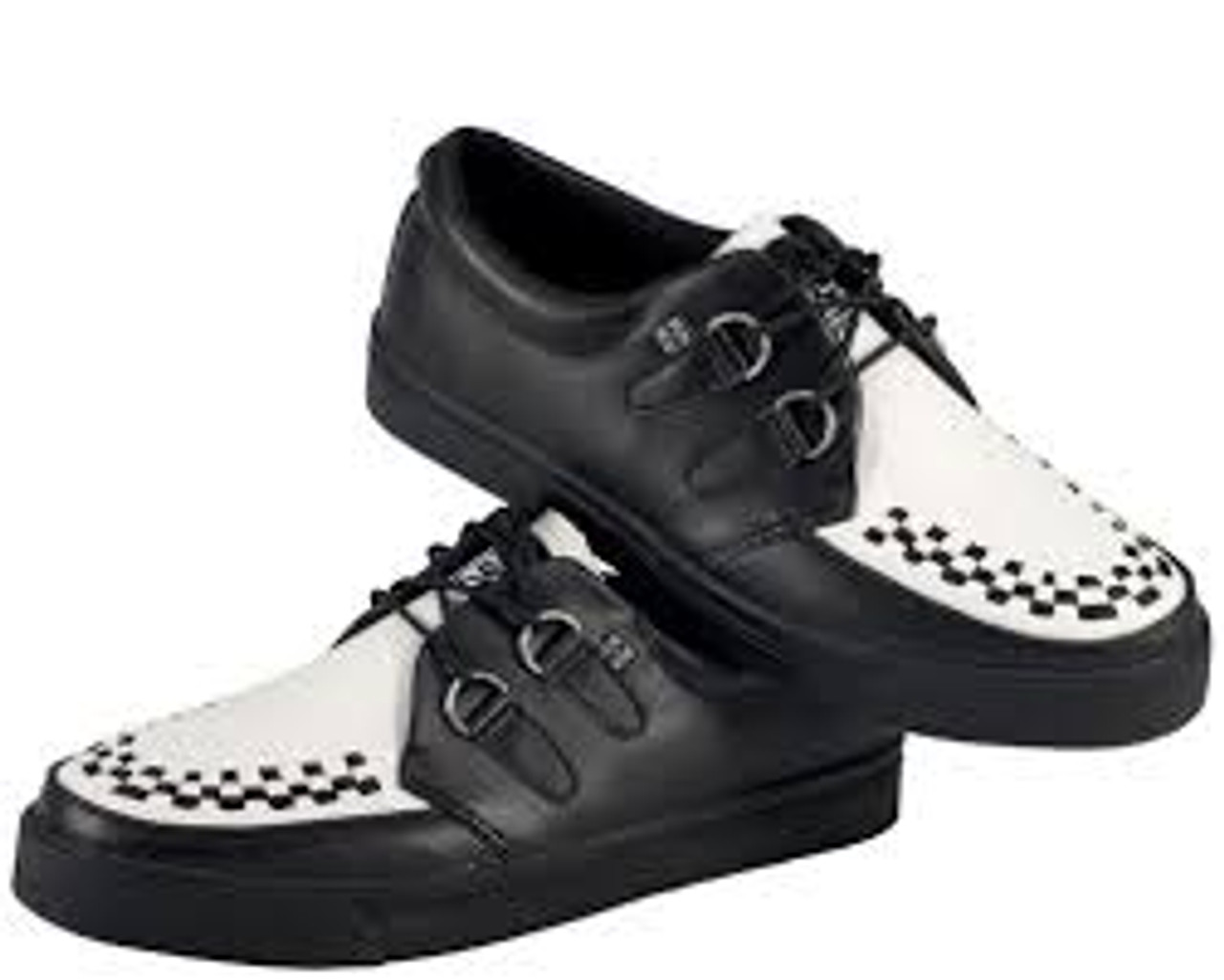 Black & White Leather with Black Interlace Creeper Sneaker-A6092