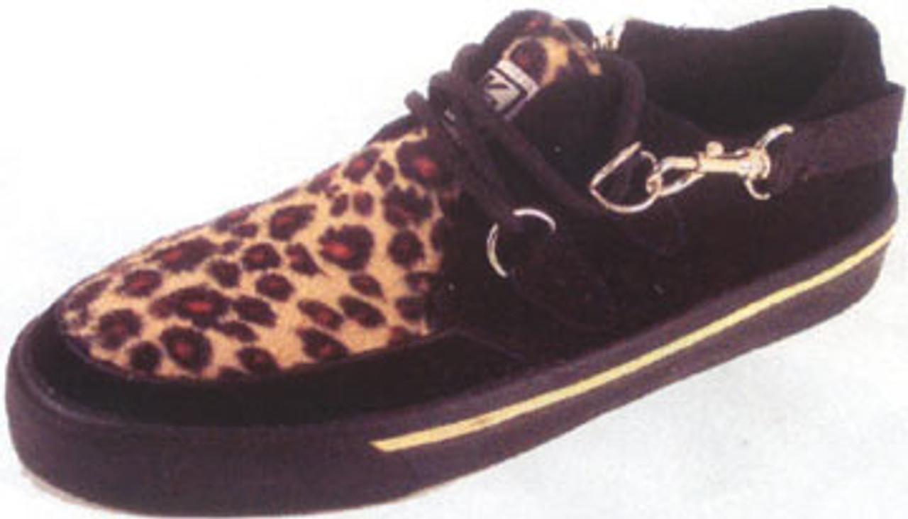 Black Suede Leopard Faux Fur Bondage Creeper Sneaker-A6142